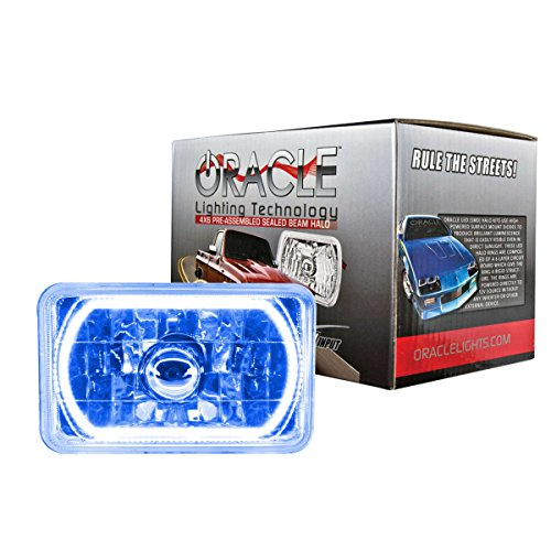 """ORACLE Pre-Installed Glass Lens Sealed Beam 4""""x 6"""" Headlight with Color LED Halo (Blue) - Part # 6909-002"""