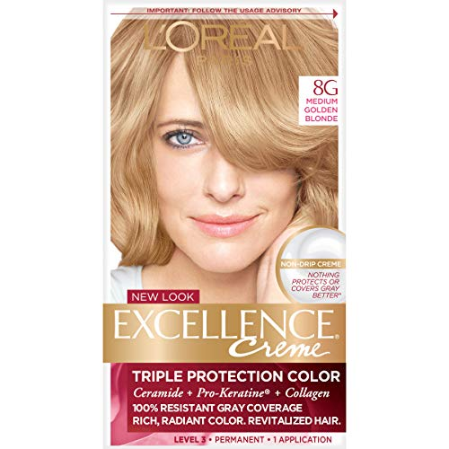 L'Oreal Paris Excellence Creme Permanent Hair Color, 8G Medium Golden Blonde, Pack of 1 kit...