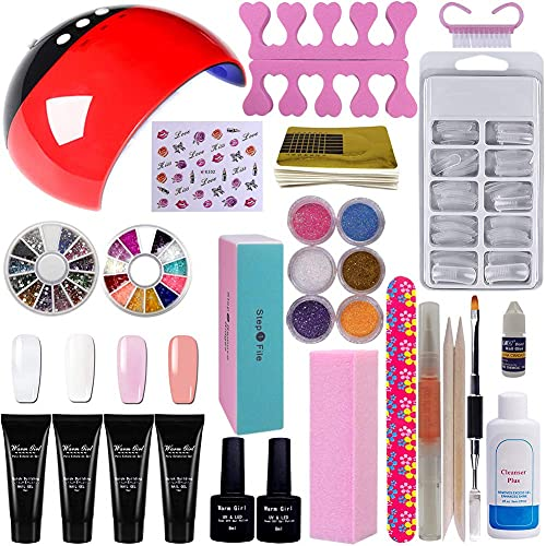 Gorgeous Poly Nail Gel with 36w LED Lamp Starter Kit Professional Clear White Pink Extension Gel 6pcs Glitter Powders All-In-One Nail Gel Builder Manicure