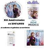 Kit Disney Frozen La Reine des Neiges 2 II 52 pièces 16 Enfants Anniversaire (16 Assiettes, 16 gobelets, 20 Serviettes + 10 Bougies Magiques) fête Anna Elsa