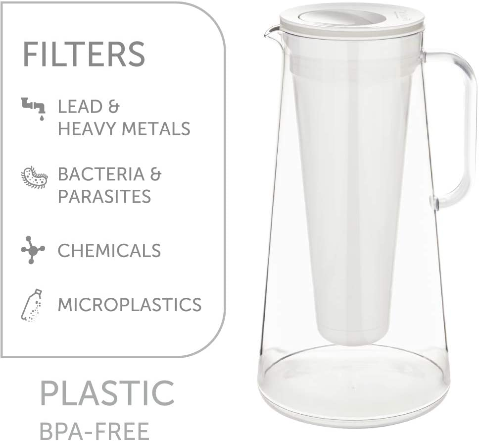 LifeStraw Home 7-Cup Water Filter Pitcher, BPA-Free Plastic, Tested to Protect Against Bacteria, Parasites, Microplastics, Lead, Mercury, and a Variety of Chemicals, White : Home & Kitchen