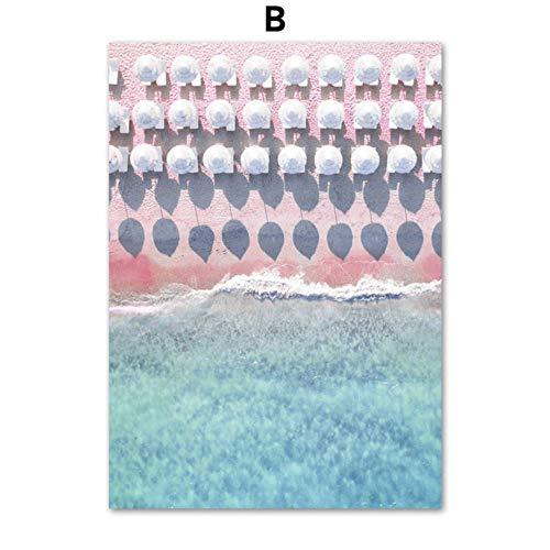 SDFSD Palme Pink Beach Woman Zitat Regenschirm Wandkunst Leinwand Malerei Nordic Poster und Drucke...