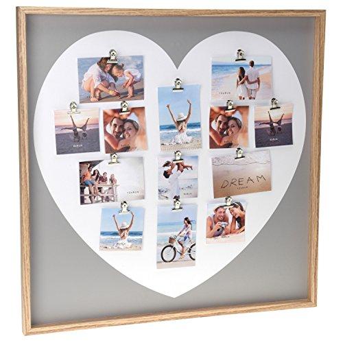 Fotogalerie Bilderrahmen Herz Bildergalerie mit XL Holz Rahmen Fotocollage Love Liebe groß für mehrere Bilder