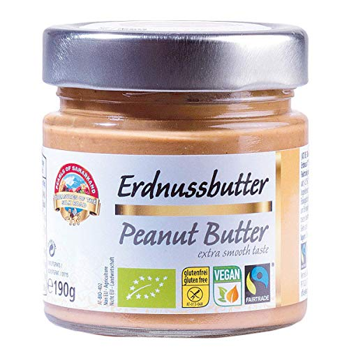 Bio Fairtrade Erdnussbutter 6x190g Öko Erdnusscreme Creme, 100% Erdnusspaste aus Erdnusskernen Erdnüssen aus Usbekistan, vegan, reine Natur, aromatisch nussig, geröstet, glutenfrei 1,14kg