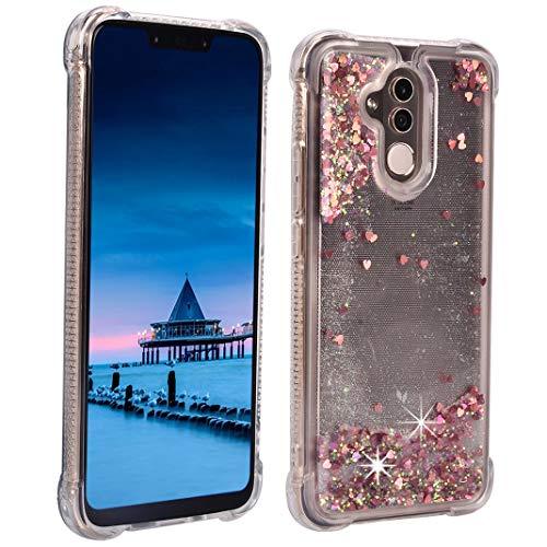 ToMoYi - Carcasa para Huawei Mate 20 Lite, con purpurina, de silicona TPU suave, con efecto mojado y arenas movedizas, con protección antigoteo, Rose gold Liebe