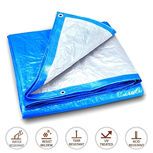 Tarpaulin waterproof tarps camping groundsheet Blue Silver Tarp /0.3mm Water Resistant Tarps/Multi Purpose All Weather Tarpaulin/Car Tent Shelter Cover Outdoor (Color : Blue+Silver, Size : 4x6m)