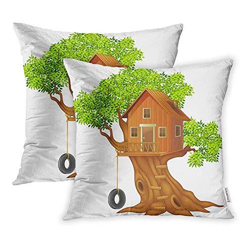 okstore1988 Juego decorativo de 45 x 45 cm, 1 funda de almohada de bambú, hermosa casa de árbol, diseño de dibujos animados, para niños, cuadrado, para el hogar, sofá, una funda de almohada
