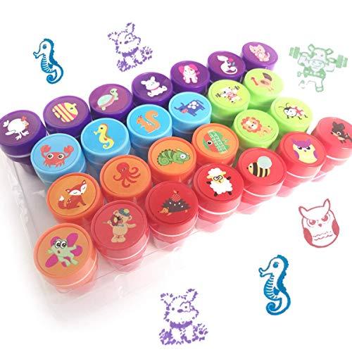 26 Piezas Conjunto de Sellos Animales para Niños Plastico Sellos de Entintado para Niños Regalo de Fiesta Cumpleaños Educación Auto Entintado 6 Colores
