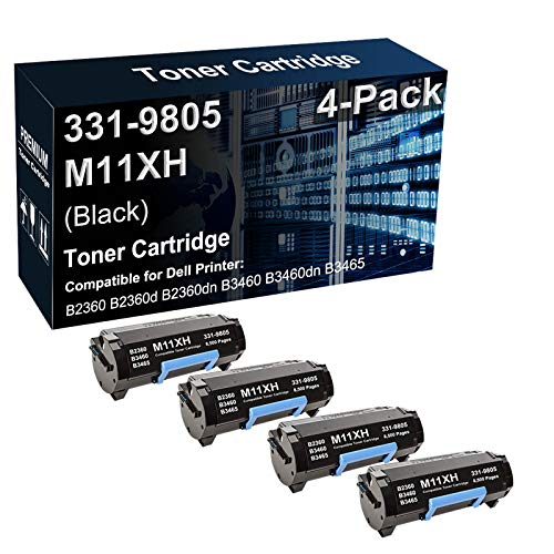 4-Pack Compatible B2360dn B3460dn B3465dn Printer Toner Cartridge Replacement for Dell 331-9805 M11XH C3NTP Toner Cartridge (Black, High Capacity)