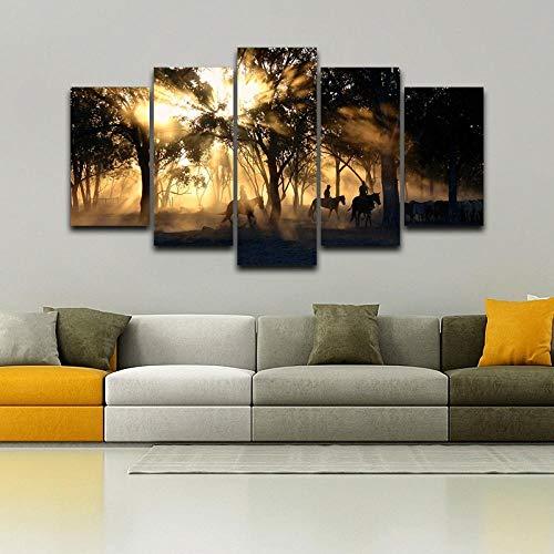 KAIASH Pintura 5 Impresiones Moderno Cuadro Mañana Amanecer Bosque Madera Caballo de Pared diseño decoración de Interiores