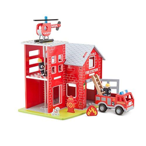 New Classic Toys - 11020 - Feuerwache mit Feuerwehrauto, Helikopter, Feuerwehrmann, Rettungshund, Feuerdisplay und Hydrant