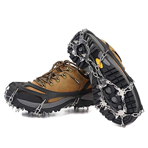 Ice Cleats Traction Crampons Anti Slip 19 Spikes Stainless Steel Snow Grips for Boots Shoes Women Men Kids Spikes Safe Protect for Mountaineering Climbing Hiking Walking Ice Snow Grips M L XL