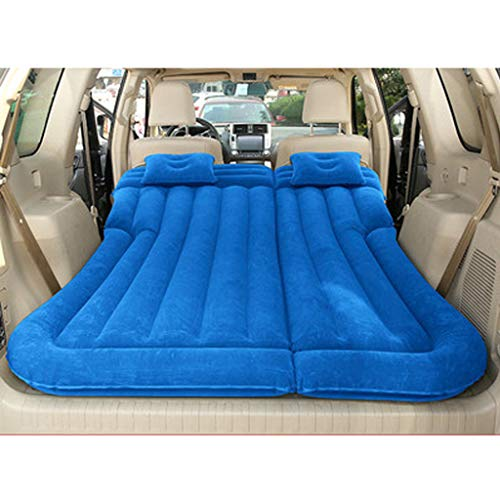 Car Air Bed, Car Inflatable Air Mattress Back Seat Camping Flocking Fabric Universal SUV Car Mattress with 2 Air Pillows for Sleep Rest and Travel
