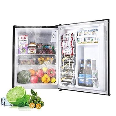 Compact Refrigerator, 2.3 Cu.Ft, TECCPO, Mini Fridge, Energy Star, Super Quiet, Reversible Door, Mini Refrigerator, Small Refrigerator, for Dorm, Bedroom, Office, RV, Apartment, Black-TAMF05
