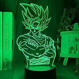 Lámpara 3D de ilusión LED de la noche de la bola de dragón Goku infantil decoración de la habitación de la lámpara de mesa el mejor regalo de cumpleaños para niños