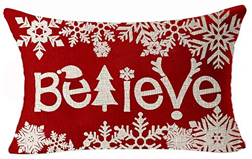 Happy Winter Season's Red Beautiful Various Snowflakes Merry Christmas Believe Cotton Linen Lumbar Pillow Case Personalized Cushion Cover New Home Office Decorative 12 X 20 Inches