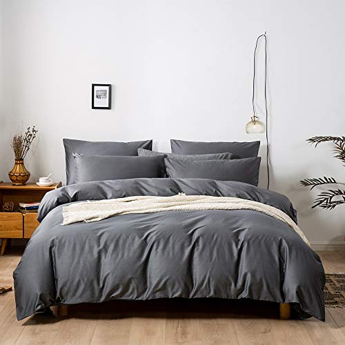 LyTble 3 Pieces Solid Color Ivory White Long Staple Cotton Duvet Cover Queen Size Soft Breathable Bedding Set with Zipper Ties (Cotton/Dark Gray, King)