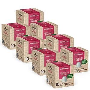 BANDOLERO 100% Compostable Made in Italy, 80 Cápsulas Compatibles con Nespresso, Té de Hierbas con Bayas del Cultivo Ecosostenible, Aroma Inconfundible para Cafetera Nespresso