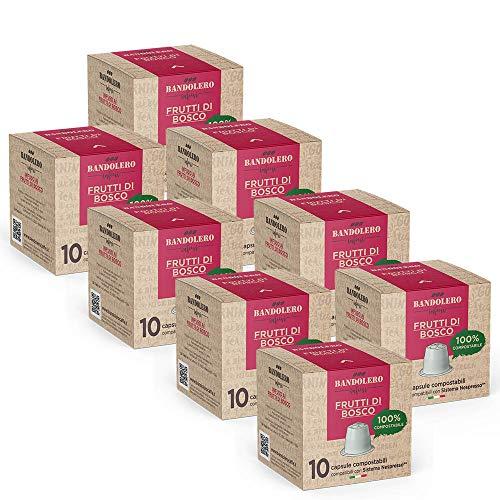 BANDOLERO 100% Kompostierbar Made in Italy, 80 Nespresso-kompatible Kapseln, Wildfrüchte Tee aus ökologisch nachhaltigem Anbaue, Unverwechselbares Aroma für die...