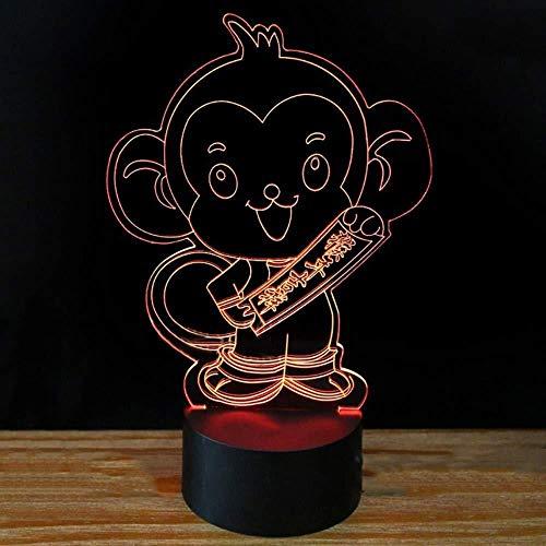 7 couleurs changeantes LED forme de singe 3D veilleuses Creative Happy Monkey Year lampe de bureau décor à la maison éclairage Luminaria enfants cadeaux