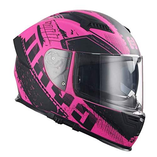 XinC Motorradhelm Schwarz, Motorrad-Helm Helme Für Frauen Männer Erwachsene Integralhelm Helm Motorradhelm Motocross Helme Motorradhelme Motorrad Rennhelme,Rosa,L
