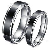 Daesar 2 Pcs Wedding Rings for Women and Men Rings Black Stainless Steel Rings Engraved Women 7 & Men 9