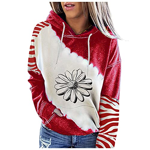 Halloween Graphic Hoodies for Women,Fashion Printed Patchwork Pullover Tops Casual Long Sleeve Crewneck Oversized Sweatshirts Red