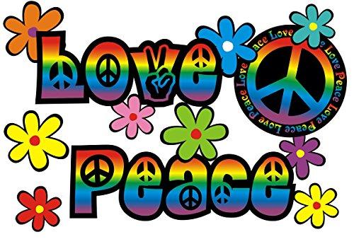 Autoaufkleber, Blumendesign: Love and Peace 06 Rainbow