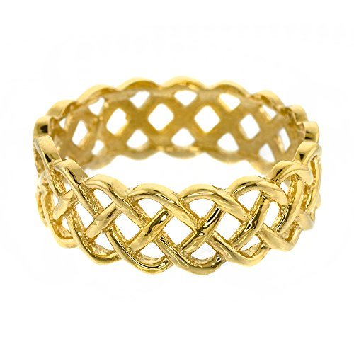 Fine 14k Yellow Gold Celtic Knot Band Eternity Ring (Size 6)