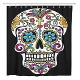 AdaCrazy Cortina de Ducha Sugar Skull Flower Colorful Home Baño Decoración Tejido de poliéster Impermeable 72 x 72 Inches Set con Ganchos