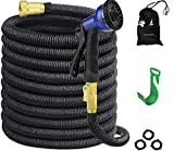 GUOXUAN Expandable Garden Hose 50FT Strongest Expanding Retractable Pocket Hose with Double Latex Core, 3/4 Solid Brass Fittings & 8 Function Spray Nozzle for All Your Watering Needs