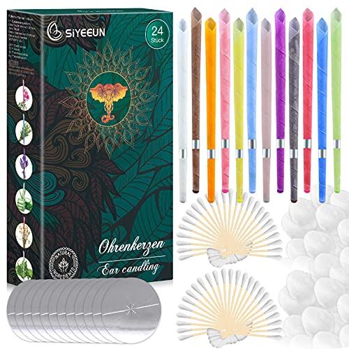Ohrenkerzen zur Reinigung 24 Stück, Ohrkerzen Ohrenschmalz Entferner Kit, Ohr Wachs Kerzen mit 12 Schutzscheiben und 50g Wattestäbchen