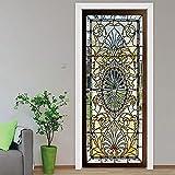 LBMT - Adhesivo 3D para puerta con efecto de vidrio, fondo decorativo, adhesivo decorativo para pared, madera, puerta renovada, L (45 x 200 cmx2 unidades)