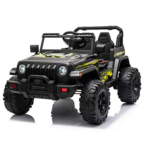 JOYMOR 12V Ride on Truck, Electric Battery Powered Kids Toddler Motorized Vehicles Toy Car W/ 2.4G Remote Control, Music, Radio, 3 Speeds, Seat Belts, LED Lights and Horn, Black
