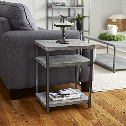 Household Essentials Side Table   End Table with Shelf for Storage   Faux Slate Concrete