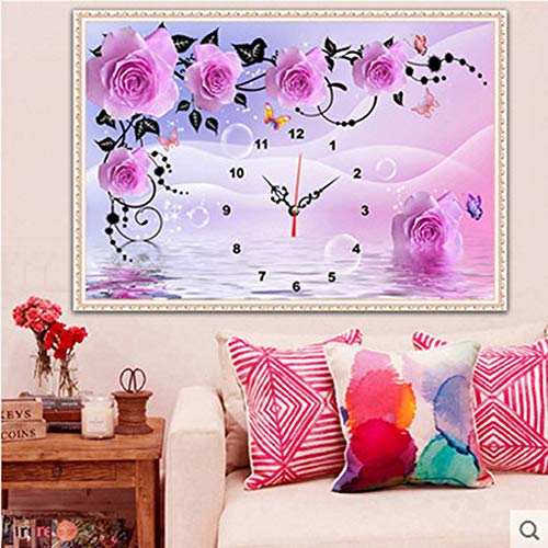 DIY 5D Diamant Painting,Üppige Vase,30x40cm,Crystal Strass Stickerei Bilder Kunst Handwerk für Home Wall Decor Voller Bohrer (Blumen Uhr, 60 x 40 cm)