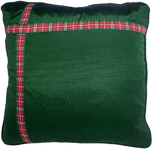 UK Care Direct Vert Cadeau de Noël Ruban Motif écossais Housse de Coussin avec Bord passepoilé