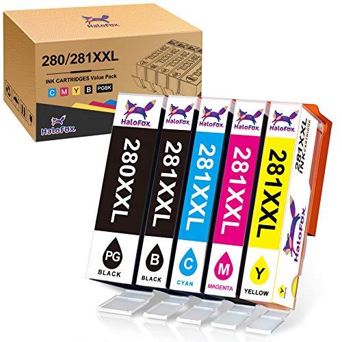 HaloFox Compatible Ink Cartridge Replacement for Canon 280 281 PGI-280XXL CLI-281XXL for Canon Pixma TR8520 TR7520 TS6120 TS6220 TS6320 TS6300 TS6200 TS6100 TS9520 TS9521C Printer Ink (5 Pack)