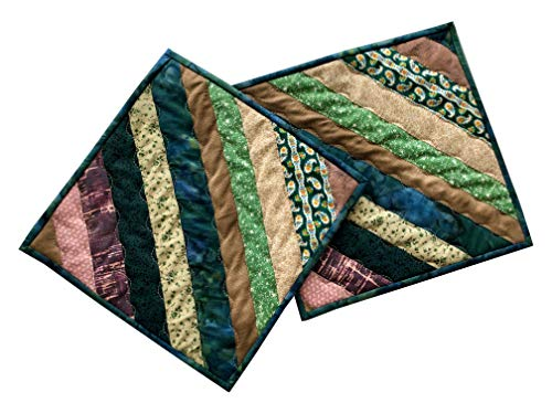 Handmade Quilted Pot Holder Set, Quilted Hot Pads, Quilted Trivets, Quilted Mug Rugs, Candle Mats (Set of 2)