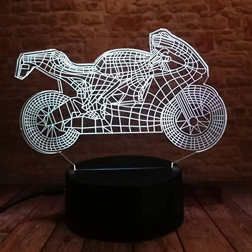 3D Slide LED Night Light Motocicleta 7 colores USB Night Light Decoración del hogar El mejor regalo para niños