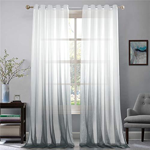 Lindong - Cortina de gasa transparente con ojales, color degradado, para dormitorio o salón, 1 unidad, tela, gris, 100x160 (BxH), Stück x1