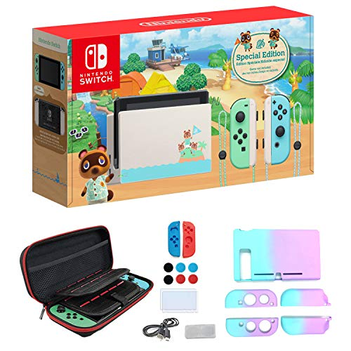 """Newest Nintendo Switch with Green and Blue Joy-Con - Animal Crossing: New Horizons Edition - 6.2"""" Touchscreen Screen - Family Christmas Holiday Bundle - Green and Blue - iPuzzle 12-in-1 Carrying Case"""