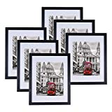 Picture Frame Set of 6, 11x14 Photo Frame with Mat and Pictures for Tabletop Display and Wall Hanging Made of Solid Wood