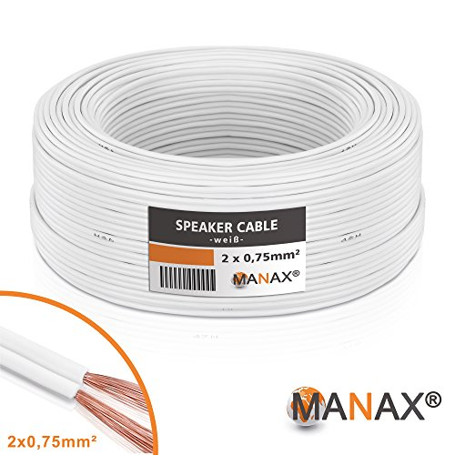MANAX SC2075W-25 luidsprekerkabel 2X 0,75 mm2 CCA (boxen/audiokabel), ring 25m wit