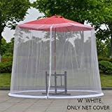 NKLC Outdoor Umbrella Table Screen, Patio Table Umbrellas, Mesh Mosquito Net Canopy Curtains, Adjustable Large Umbrella Hanging Tent(White)