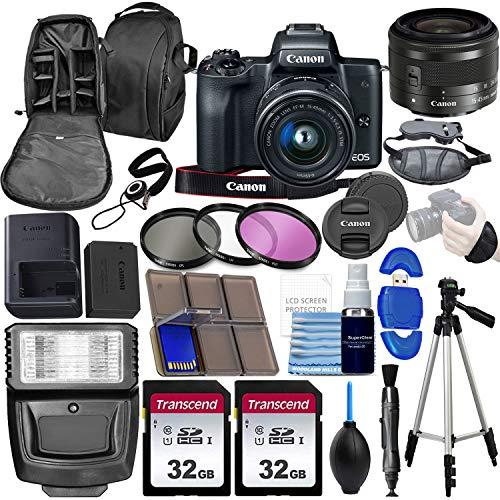 Canon EOS M50 Mirrorless Digital Camera with EF-M 15-45mm Lens Kit (Black) 4K Video with 64gb Memory + Flash +Tripod + Advanced Photo Video Bundle
