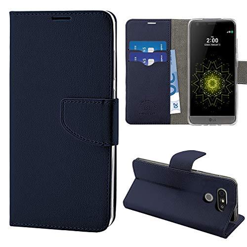 N NEWTOP Cover Compatibile per LG G5 SE - H840, HQ Lateral Custodia Libro Flip Chiusura Magnetica Portafoglio Simil Pelle Stand (Blu)