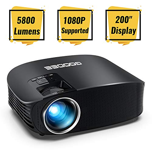 Projector, GooDee Upgraded 5800 Lumens Video Projector 200' HD LCD Home Cinema Projector Support 1080P HDMI VGA AV USB MicroSD for Home Entertainment, Party and Games