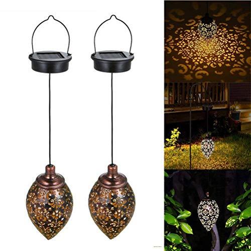 Linterna solar de luz LED IP65 impermeable al aire libre retro decorativa colgante jardín lámpara noche luz para porche, patio, patio, patio