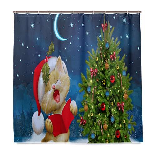 Duschvorhang mit Weihnachtsmotiv, mit Haken, wasserdicht, für Zuhause, Badezimmer, Winter, Schnee, Kätzchen, Tierdekoration, Badedekor, Schimmelresistent, 180 x 180 cm